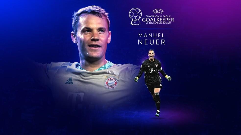 Neuer é eleito o melhor goleiro da última Liga dos Campeões — Foto: Reprodução / Twitter