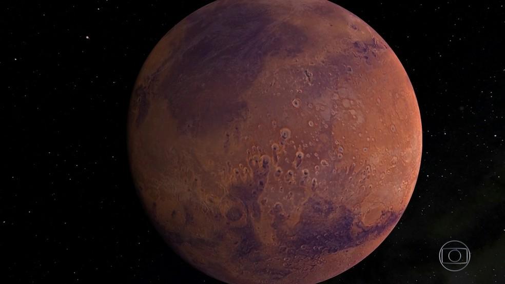 Nasa tem uma missão a Marte para descobrir sinais de vida no planeta  — Foto: Rede Globo