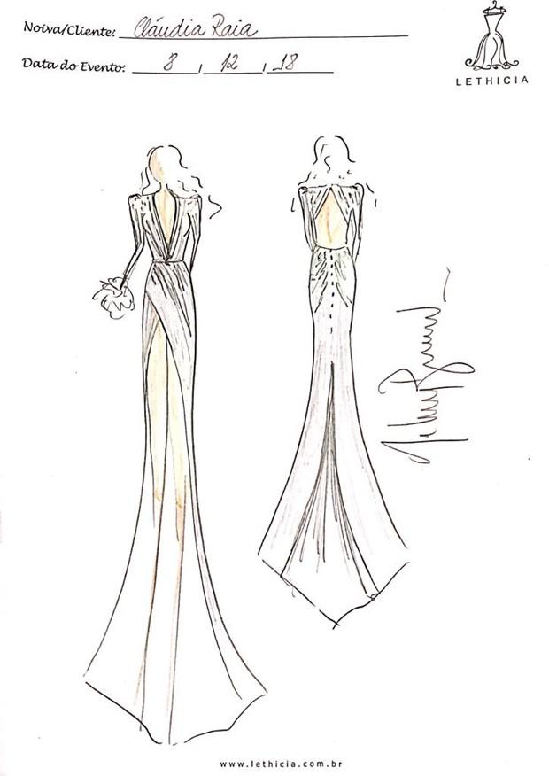 Croqui do vestido da Claudia Raia (Foto: Reprodução)