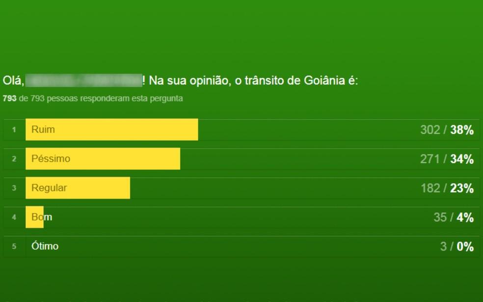 Enquete da SMT procura saber o que moradores pensam do trânsito de Goiânia  (Foto: Reprodução/Prefeitura de Goiânia)