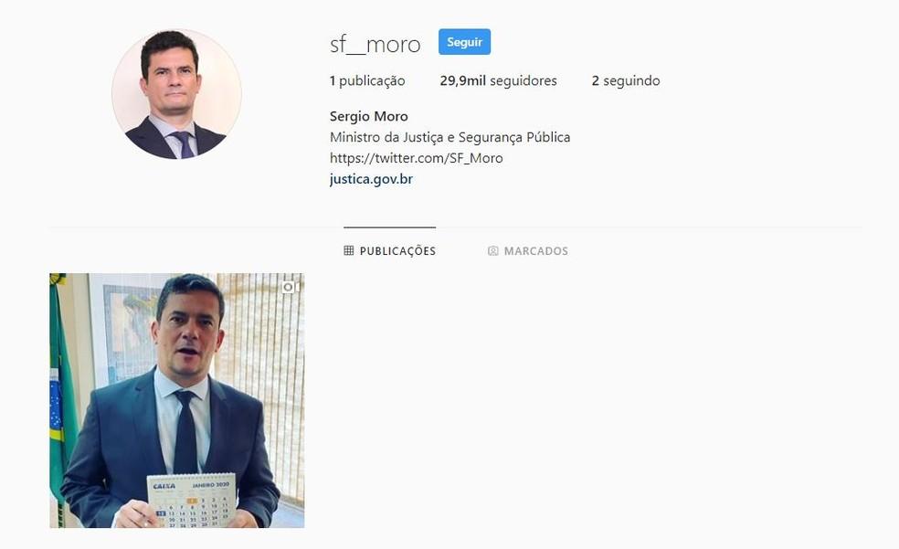 Perfil do ministro Sergio Moro em rede social — Foto: Instagram/Reprodução