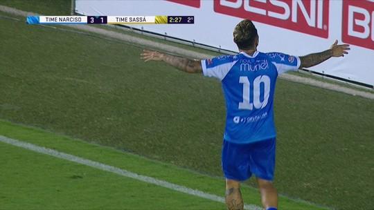 Os gols de Time Narciso 1 x 6 Time Sassá em amistoso beneficente