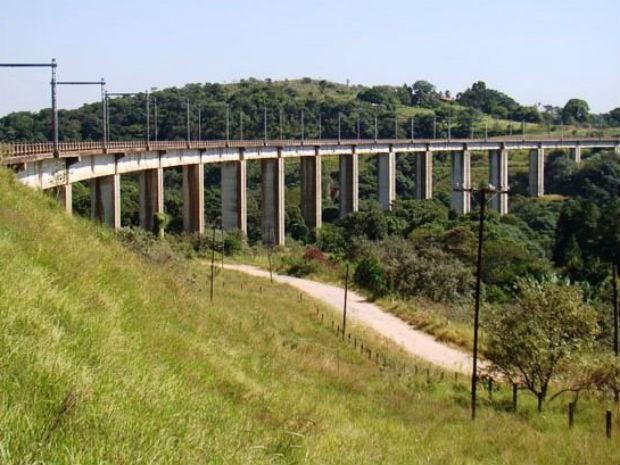 Homem morreu após cair de bungee jump na ponte férrea Engenheiro Acrísio (Foto: São Roque Notícias/Divulgação)