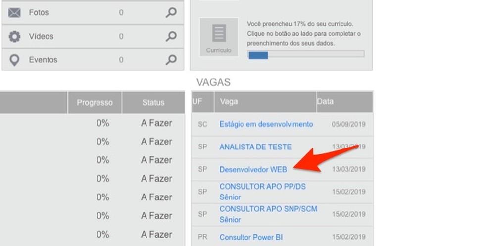 Ação para acessar um anúncio de vaga no site Brasil Mais Digital — Foto: Reprodução/Marvin Costa