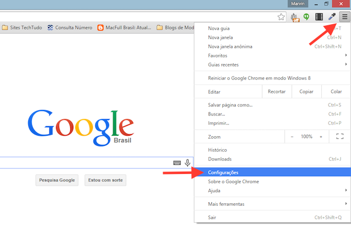 Acessando as configura??es do Google Chrome (Foto: Reprodu??o/Marvin Costa)