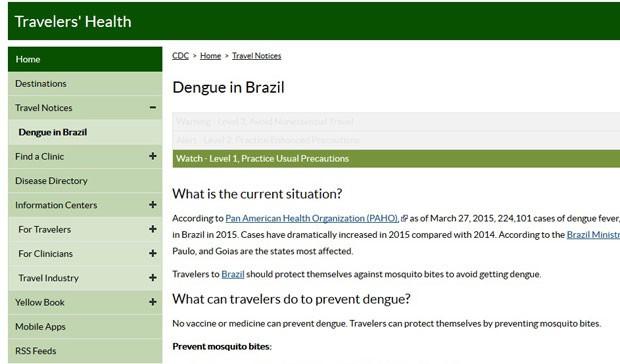 O CDC fez uma nota alertando turistas americanos sobre o risco de contrair dengue no Brasil (Foto: Reprodução/CDC)