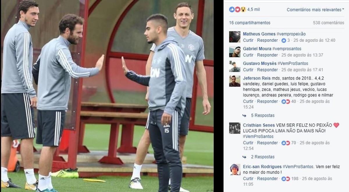 """Santistas invadem redes de brasileiro do Manchester United: """"Vem para o Santos"""""""