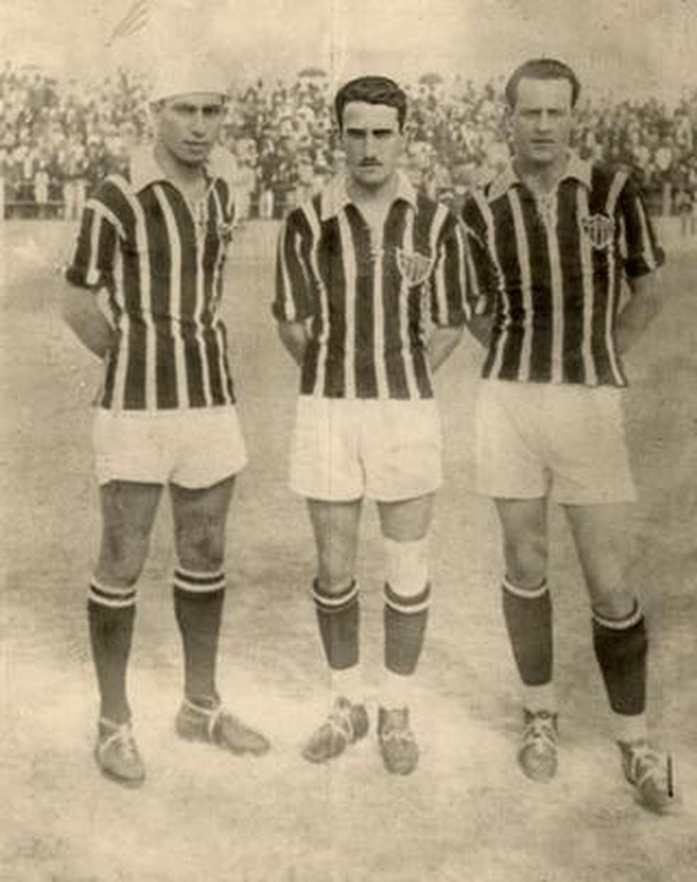 """""""Trio maldito"""" : Jairo, Said e Mário de Castro marcaram oito dos nove gols no jogo — Foto: Reprodução/Site do Atlético-MG"""