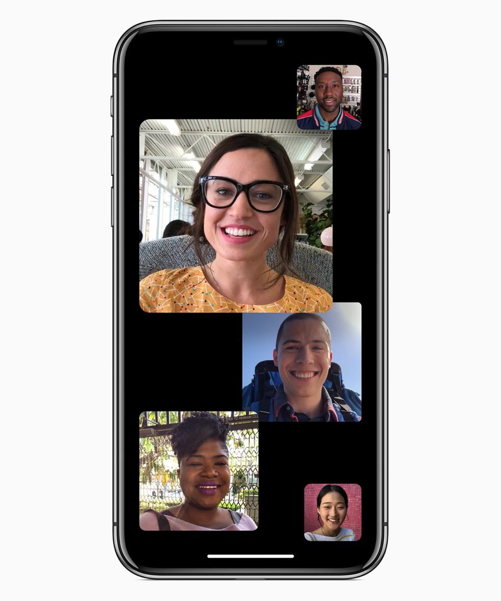 FaceTime foi atualizado para fazer teleconferências em grupo para até 32 pessoas no ano passado e problema foi descoberto justamente nessa função. — Foto: Divulgação/Apple