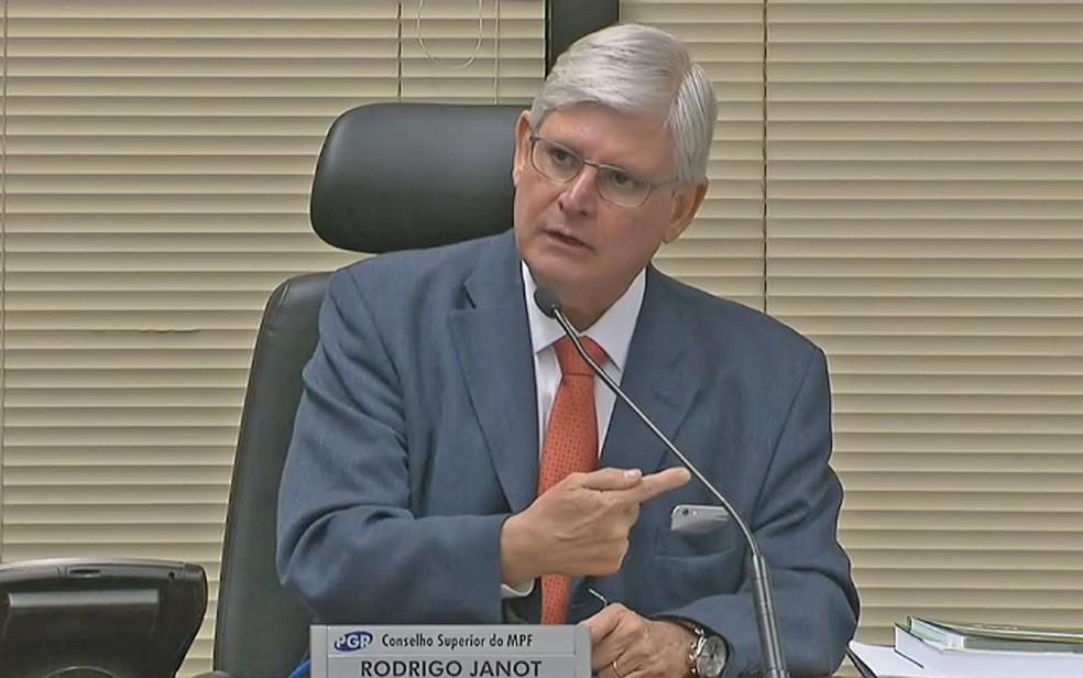 Rodrigo Janot em pronunciamento sobre possível revisão do acordo de delação premiada de executivos da J&F (Foto: Reprodução)