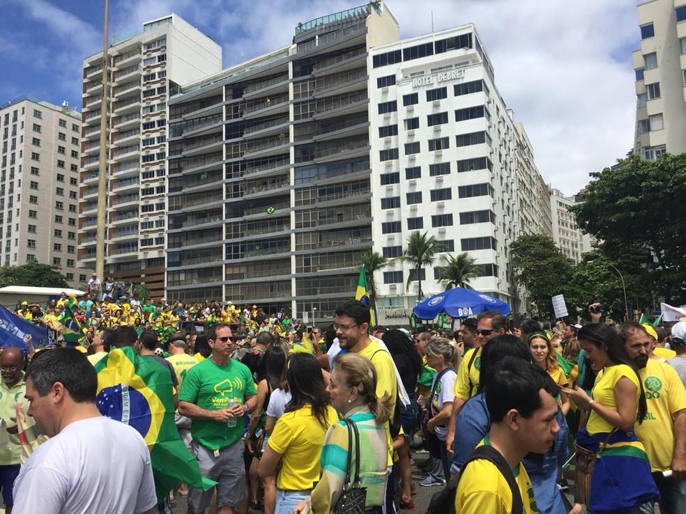 Manifestação a favor de Jair Bolsonaro (PSL) no Rio neste domingo (21) — Foto: Fernanda Rouvenat/G1