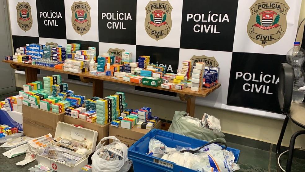 Segundo a Polícia Civil, os medicamentos não possuíam nota fiscal — Foto: Polícia Civil/Divulgação