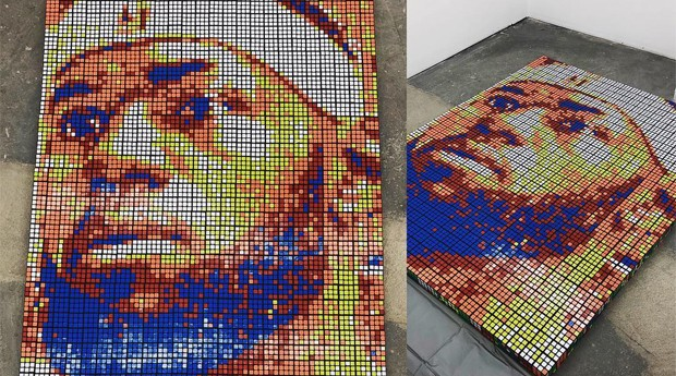 LeBron James também ganhou seu retrato de cubo mágico (Foto: Reprodução)