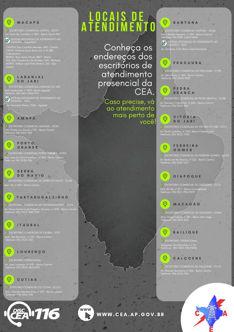 Locais de atendimento da Companhia de Eletricidade do Amapá (CEA) — Foto: CEA/Divulgação