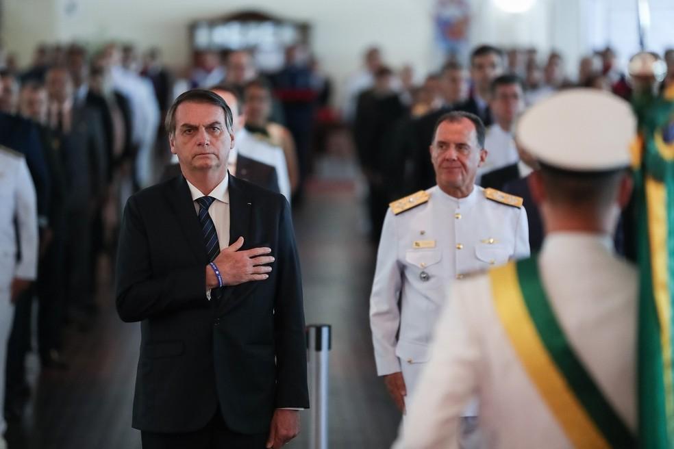 O presidente Jair Bolsonaro durante entrega de condecorações em solenidade comemorativa do 211º Aniversário da Justiça Militar da União — Foto: Marcos Corrêa/Presidência da República