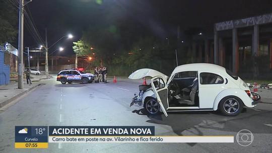 Médico que dirigia Fusca bate em poste na Região de Venda Nova, em Belo Horizonte