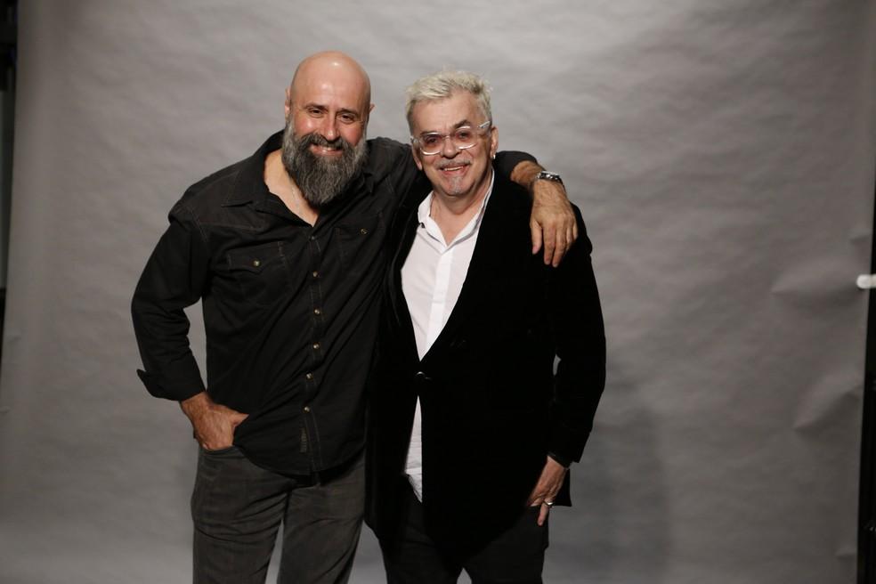 O diretor artístico Mauro Mendonça Filho posa com Walcyr Carrasco (Foto: Fabio Rocha/Gshow)