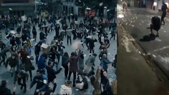 """Na esquerda, cenas da série """"La Casa de Papel"""" e ao lado, imagens do assalto em Criciúma, SC"""