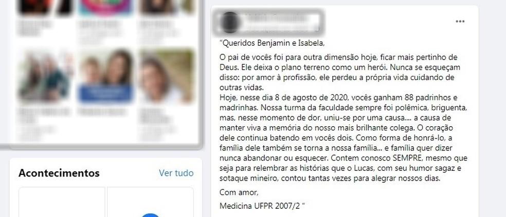 Em post, colega de turma fez homenagem emocionada a Lucas  — Foto: Reprodução/Facebook