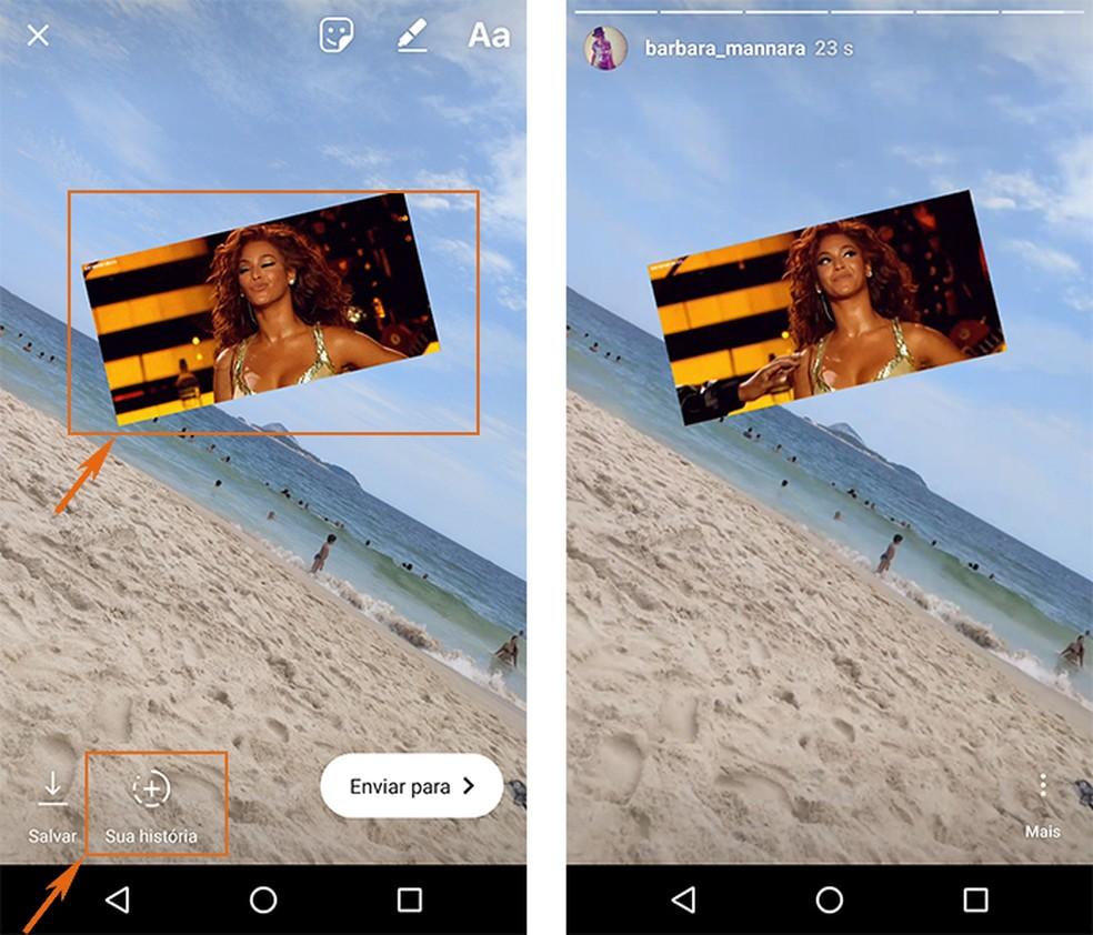 Ajuste o GIF como preferir e poste nas suas Instagram Stories — Foto: Foto: Reprodução/Barbara Mannara