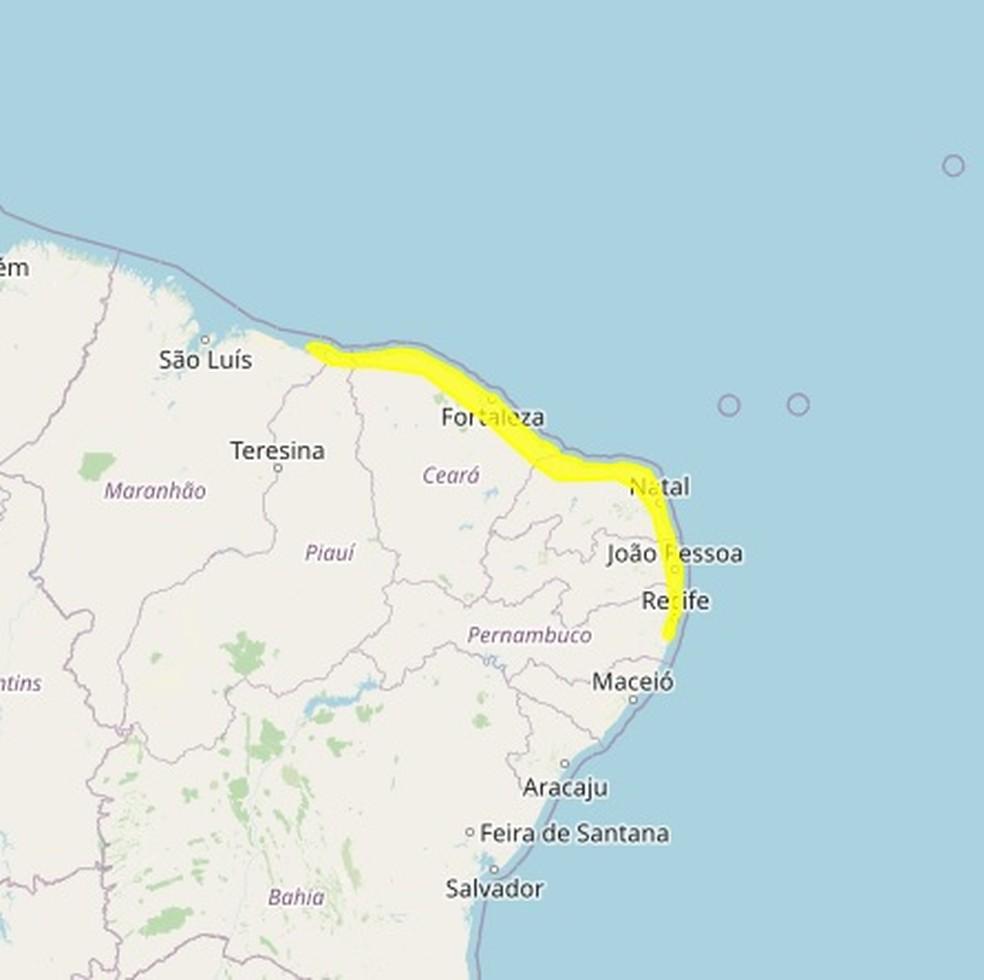 Chuvas vão atingir principalmente o litoral do RN e outros estados do Nordeste — Foto: Inmet