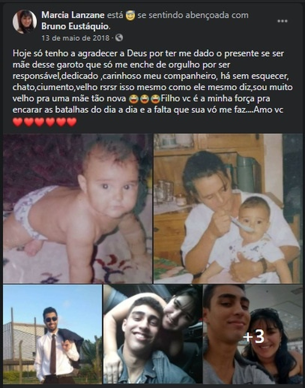 Márcia fazia postagem nas redes sociais em homenagem ao filho, a foto mostra uma das publicações, feita em 2018 — Foto: Reprodução/Facebook