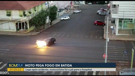 Homem que pegou fogo em acidente e foi a pé para hospital quer consertar a moto: 'Vai dar pra rodar'