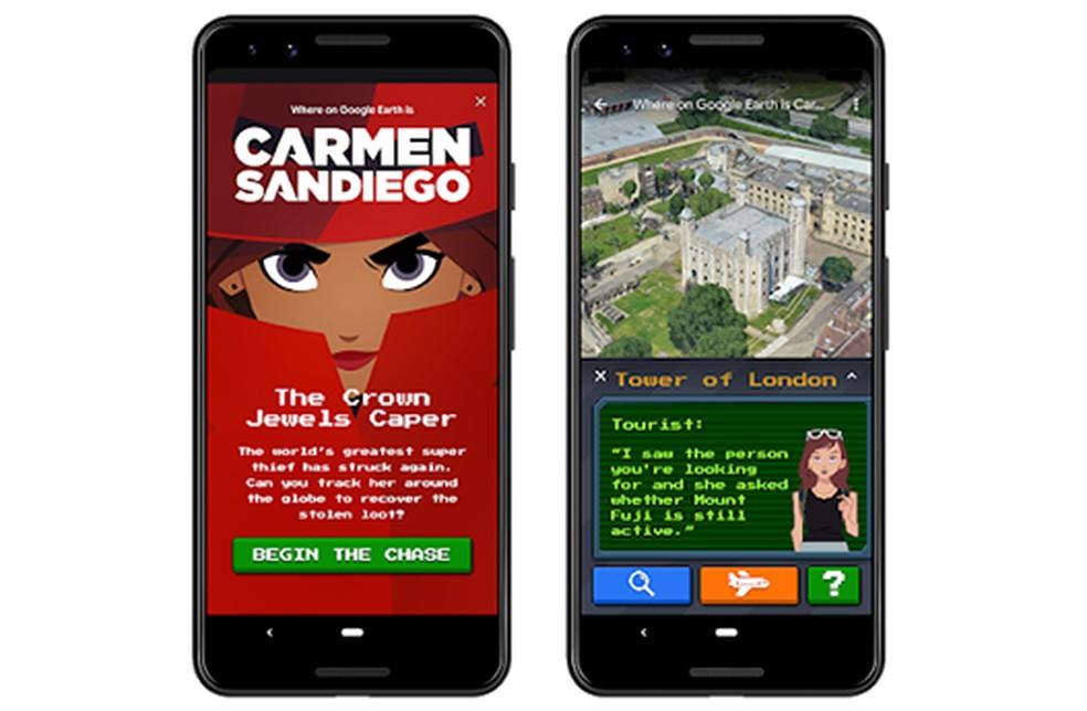 Jogo da Carmen San Diego desembarca no Google Earth para PC e celular — Foto: Divulgação/Google