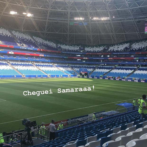 Monique Salum já está no estádio em Samara (Foto: Reprodução/Instagram)