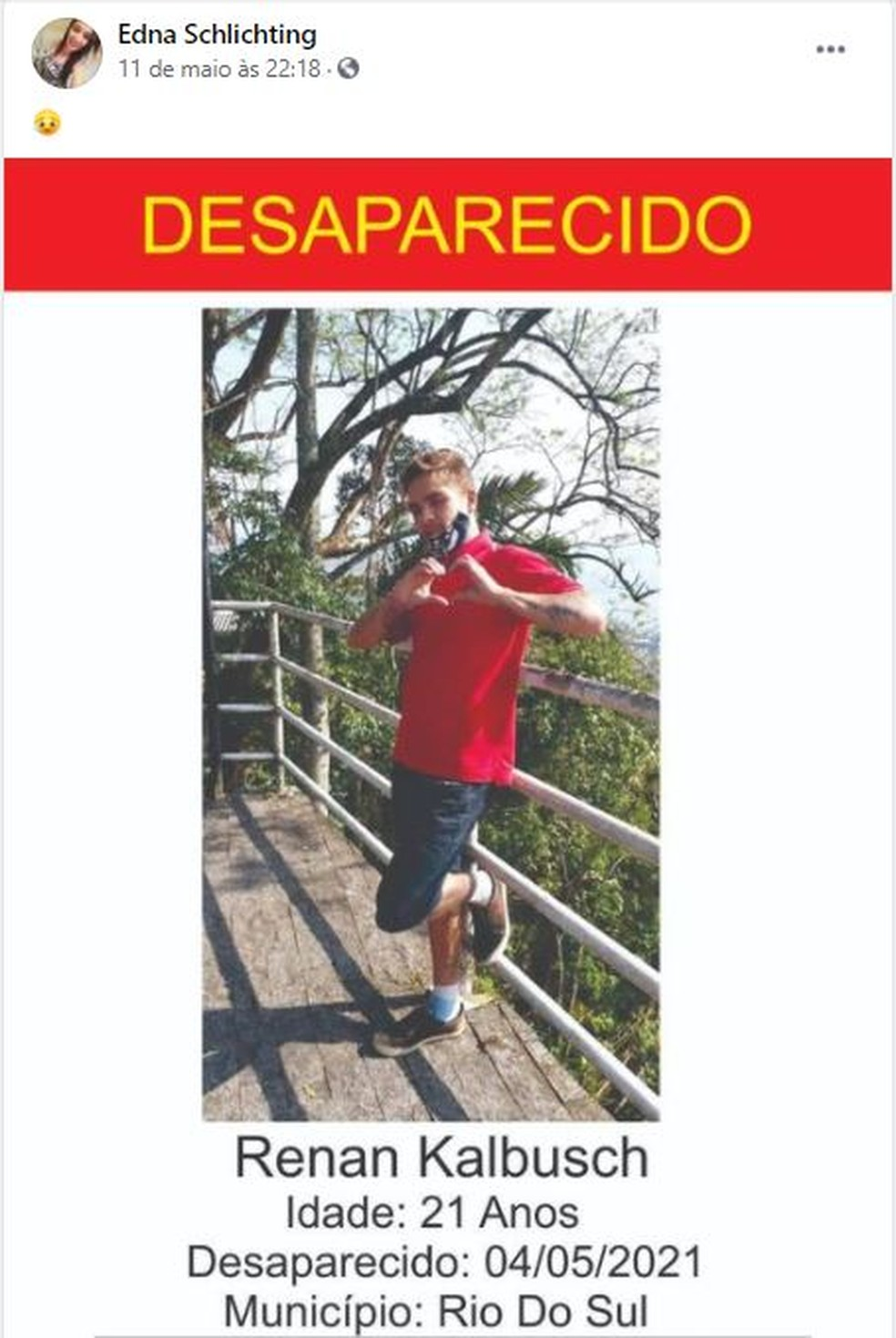 Cartaz com a foto do jovem chegou a ser publicado nas redes sociais de familiares e amigos — Foto: Redes Sociais/Reprodução
