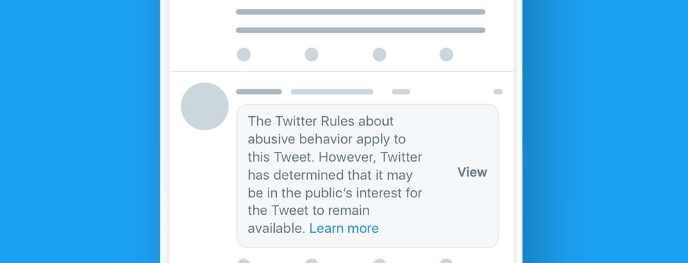 Twitter cria alerta para conteúdo que viola regras da empresa, mas é de interesse público — Foto: Divulgação