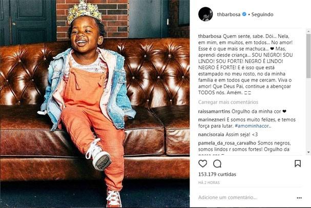 Post de Thiaguinho no Instagram sobre racismo (Foto: Reprodução/Instagram)