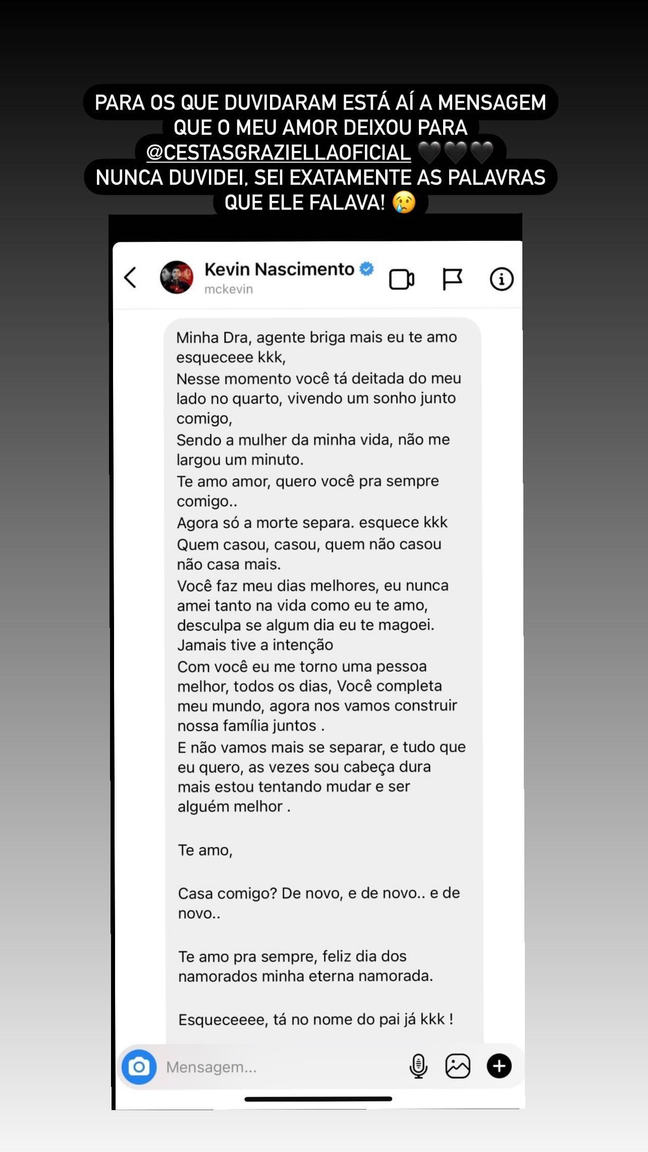 Deolane Bezerra rebate internautas que duvidaram de surpresa de Dia dos Namorados deixada por MC Kevin antes de sua morte (Foto: Reprodução/Instagram)