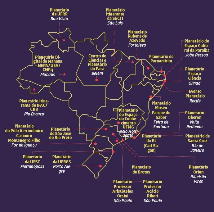 Mapa com a distribuição de planetários no Brasil (Foto: Galileu)