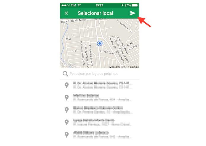 Enviando a localização atual para um contato no Hangouts para iPhone  (Foto: Reprodução/Marvin Costa)