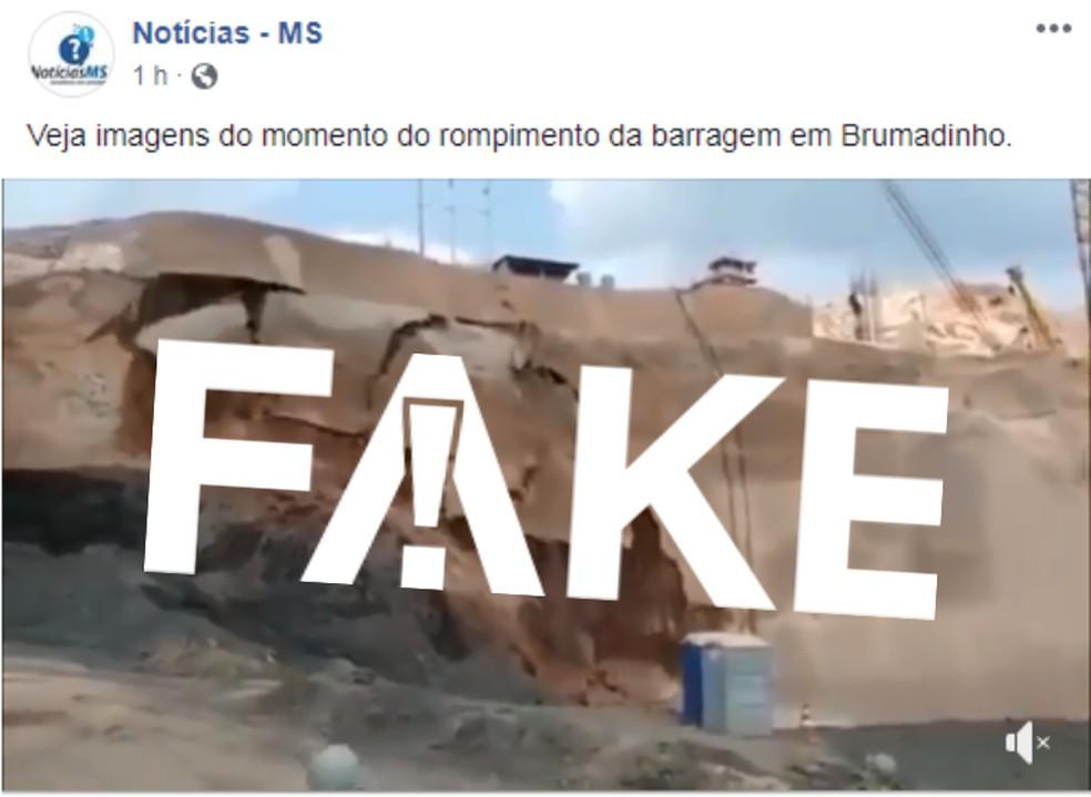 Vídeo de rompimento não retrata o ocorrido em Brumadinho — Foto: Reprodução/Facebook