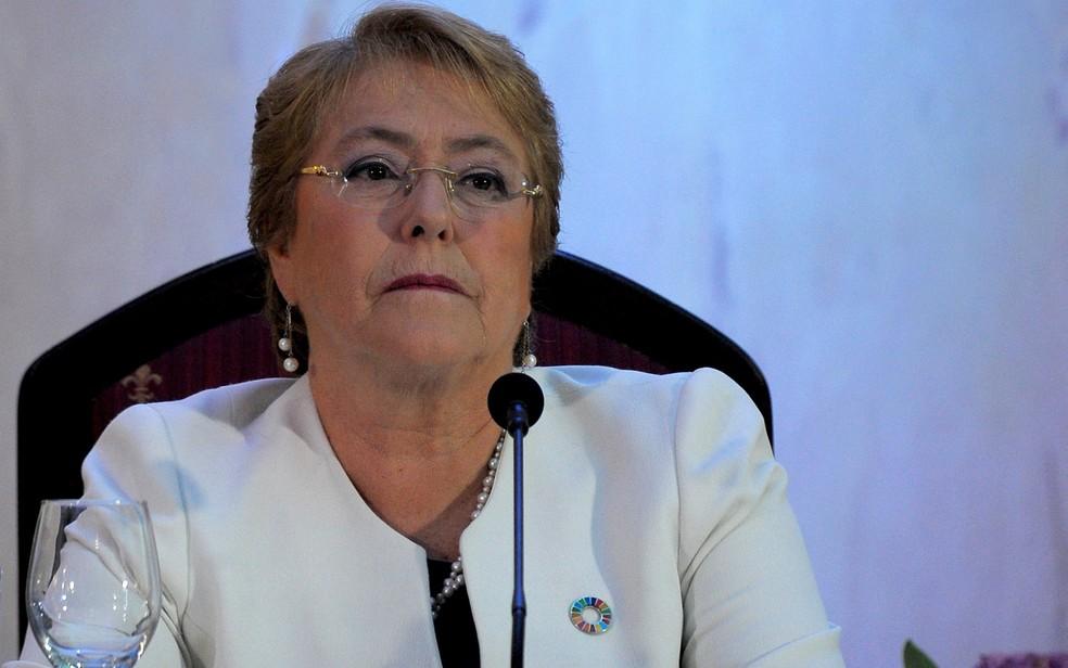-  A então presidente do Chile, Michelle Bachelet, durante evento em janeiro de 2018  Foto: Yamil Lage/AFP
