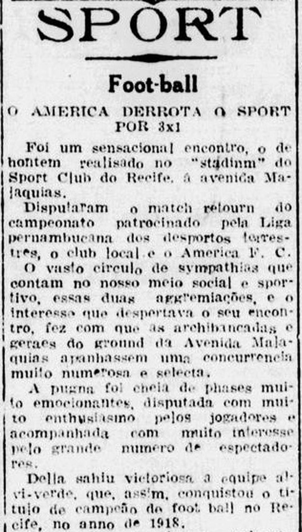 América-PE vence Sport e confirma título pernambucano de 1918 — Foto: Reprodução/Diario de Pernambuco