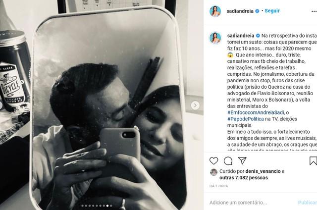 Andréia Sadi fez retrospectiva de 2020 no Instagram e elogiou André Rizek (Foto: Reprodução instagram)