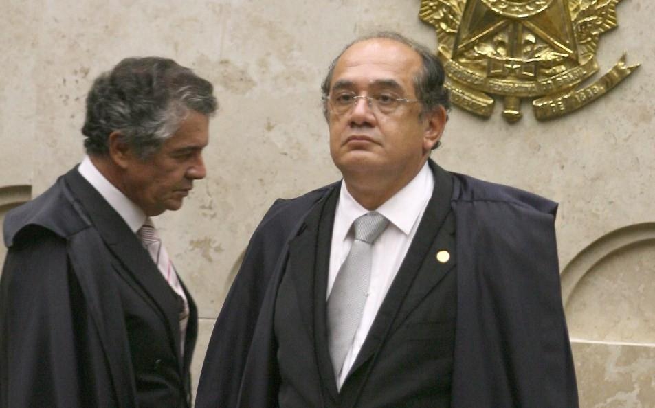 Os ministros Marco Aurélio Mello e Gilmar Mendes