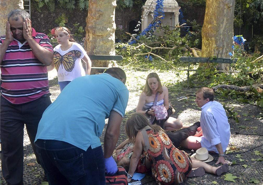 Pessoa ferida em queda de árvore na ilha da Madeira é atendida no local nesta terça-feira (15) (Foto: ASPRESS via AP)