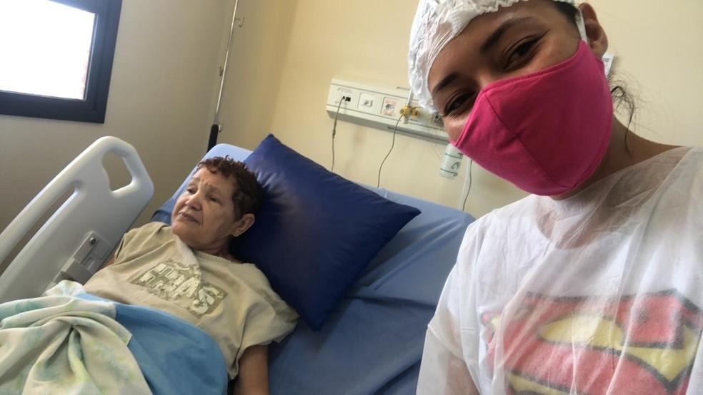 Maria da Conceição Oliveira, de 68 anos, testou positivo para a Covid e está internada no Hospital Abelardo Santos, em Belém, desde 30 de abril.  — Foto: Arquivo Pessoal