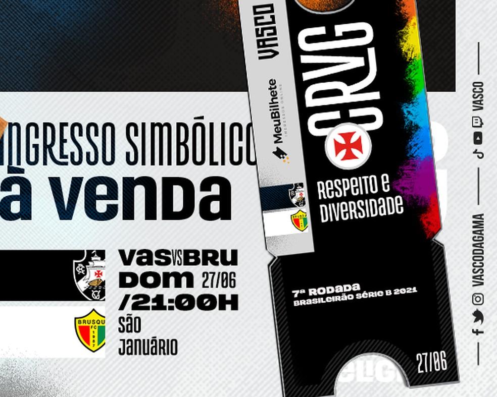 O ingresso virtual de Vasco x Brusque já é alusivo ao LGBTQIA+ — Foto: Divulgação