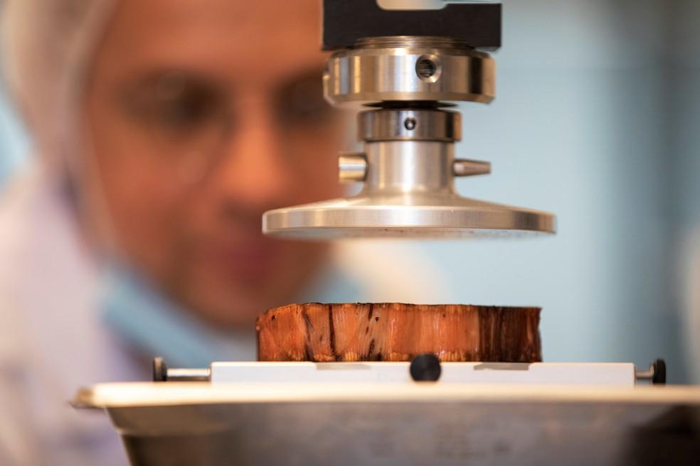 Técnico de alimentação um bife à base de planta feito por uma impressora 3D — Foto: Amir Cohen/Reuters