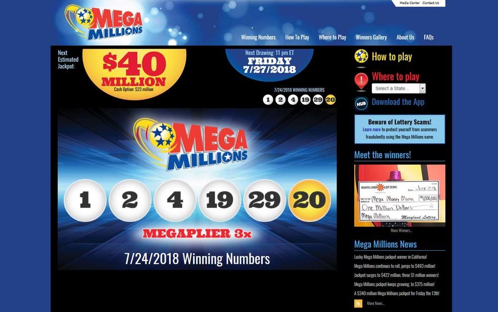 Os números vencedores foram 1, 2, 4, 19, 29 e 20, sorteados na terça-feira (23). (Foto: Reprodução / Mega Millions)