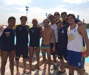 Flávio Canto com parte da seleção brasileira de pólo aquático | Divulgação