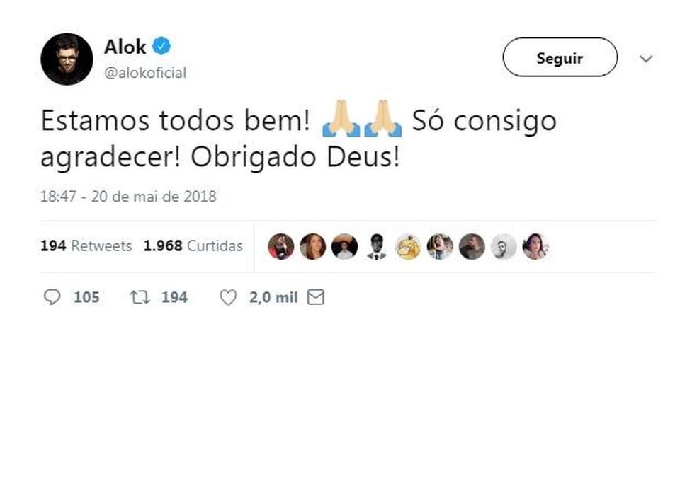 DJ Alok tranquiliza fãs no Twitter após susto no Aeroporto de Juiz de Fora neste domingo (20) (Foto: Reprodução/Alok/Twitter)