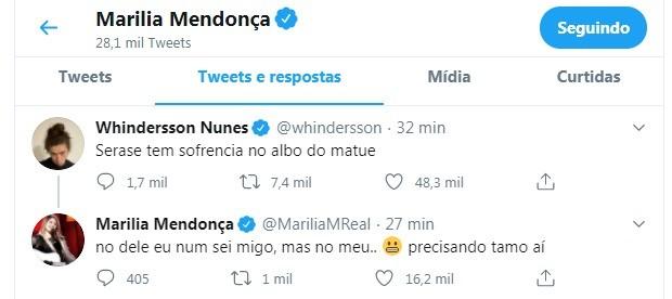 Marília Mendonça apoia Whindersson Nunes (Foto: Reprodução Twitter)