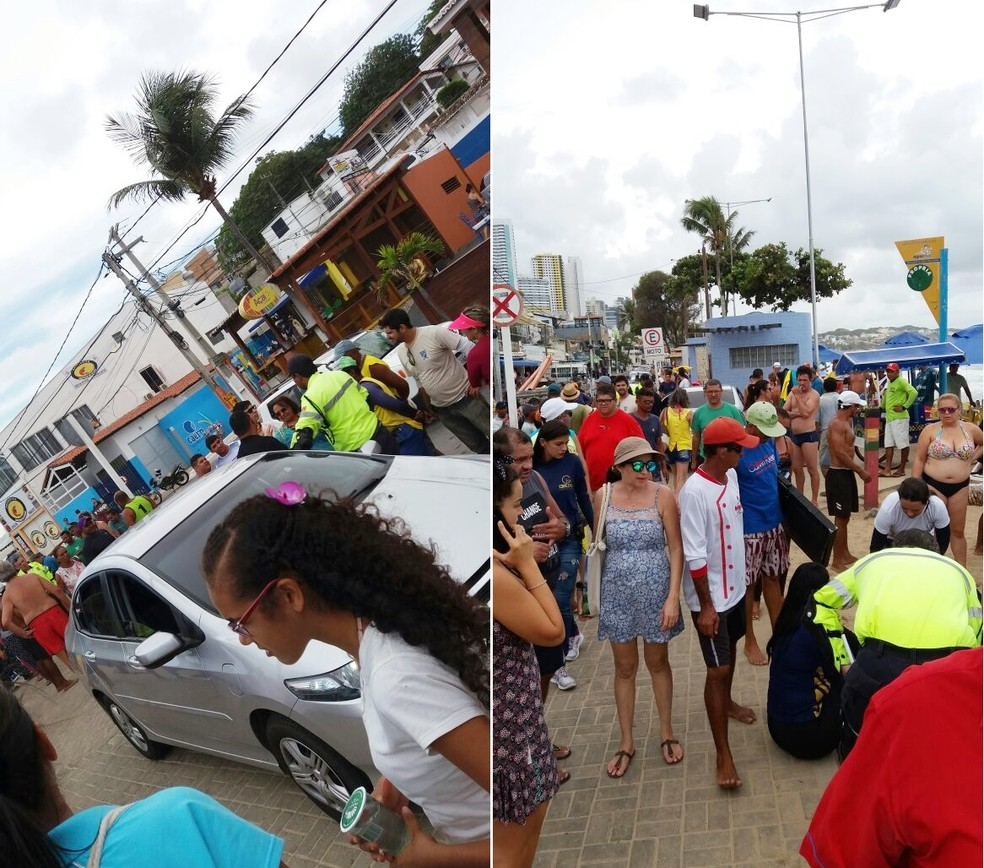 Turista paulista e vendedor foram atropelados sobre o calçadão da praia de Ponta Negra, na Zona Sul de Natal (Foto: André Henrique)