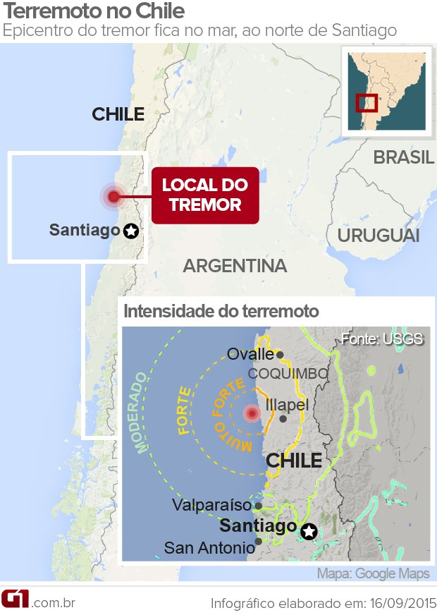 Terremoto Chile Mapa (Foto: Editoria de Arte/G1)